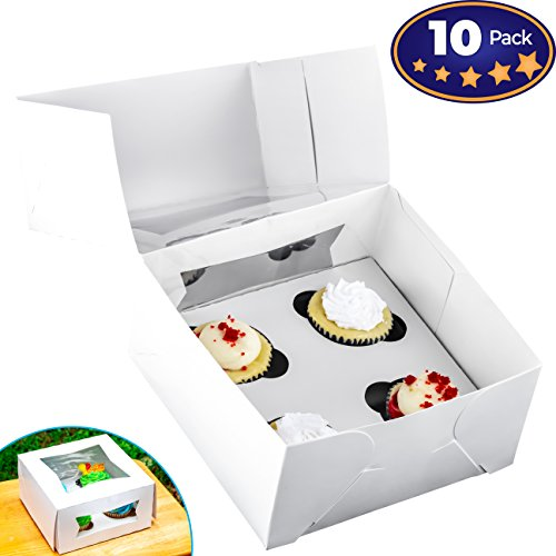 Pro-Quality Bakery Boxes for 4 Cupcakes with Display Window & Cupcake Inserts 10 Pack. Each USA Made, Bright White Box Showcases Your Cup Cakes. Easily Customized Carrier for Bake (10 Each Pack)