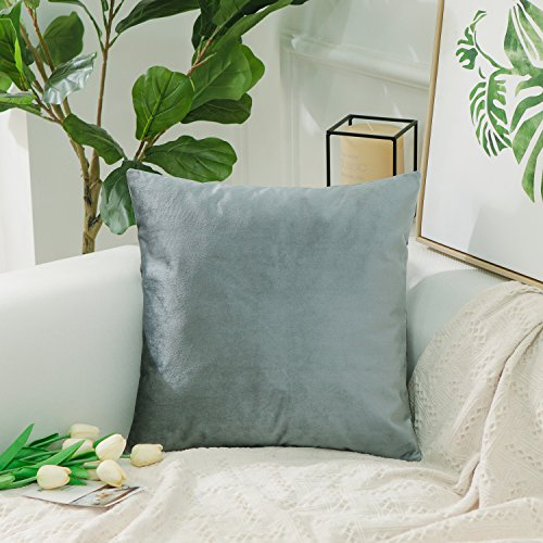 HOME BRILLIANT Large Cushion Cover Soft Velvet Solid Throw Euro Pillow Sham With Hidden Zipper for Floor, 26 x 26(66cm), Gun Metal Grey