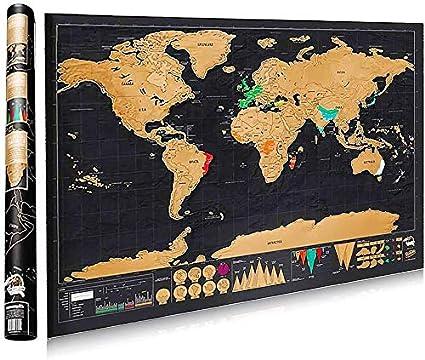 Cartina Mondo Gratta.Zunto Mappa Del Mondo Cartina Mondo Da Grattare Di Rame E Materiale Di Stagno Muro Poster Regalo Perfetto Per I Viaggiatori Fai Da Te Nero 82x 60cm Amazon It Cancelleria E Prodotti