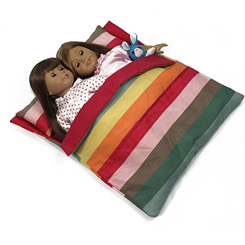 Doll Bedding Striped Pattern Reversible Twin Doll Sleepover Bag for 18