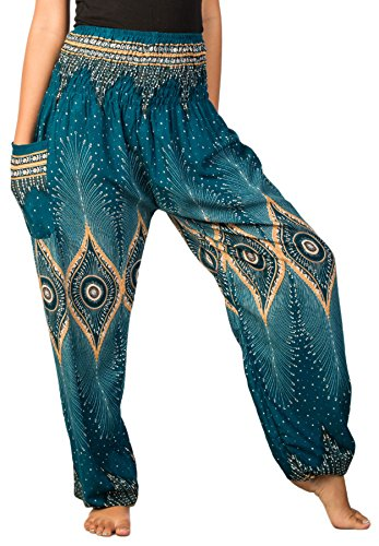Lofbaz Women's Diamond Yoga Harem Pants Teal Green M