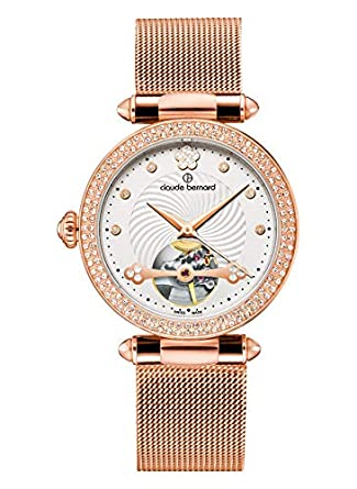 Buy Claude Bernard Women S 85023 37rpm Apr Dress Code Rose Gold Tone Automatic Watch With Swarovski Crystals Online At Low Prices In India Amazon In