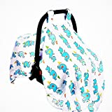 Baby Car Seat Covers To Protect Newborn From Bugs & Dust. XL Super Soft Nursing Cover, Baby Car Seat Canopy For Baby Shower Gifts. Muslin Cotton Baby Canopies For Boys.Cute Elephants