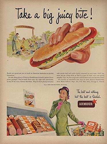 (Take a big juicy bite! Armour Frankfurters ad 1949 L hot dog weiner)