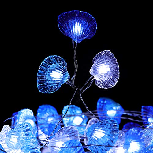 WSgift Beach Seashell String Lights, 18.7 Ft 40 LED USB Plug-in Copper Wire Beach Theme Shell Lights for Various Decoration Projects (Cool White, Remote Control with Timer)