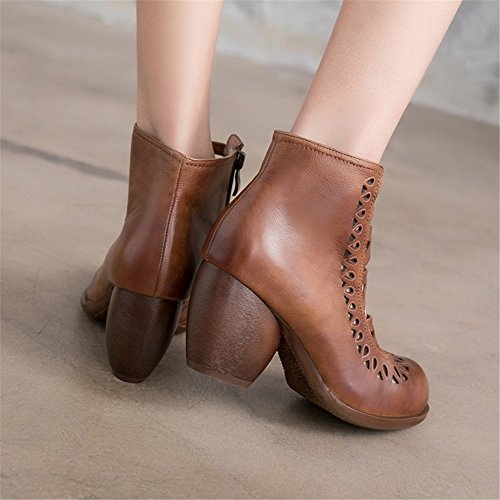 Women's Sandals Brown High Vintage Spring Chunky Leather Shoes Summer Heel Shoes Heel A Roman Boots for rr6qzwC
