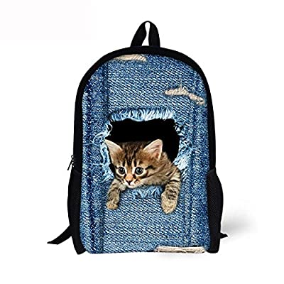 MRstriver Cute Cat Dog Animal Blue School Backpack For Boys Girls School Book Bags Cool 80%OFF