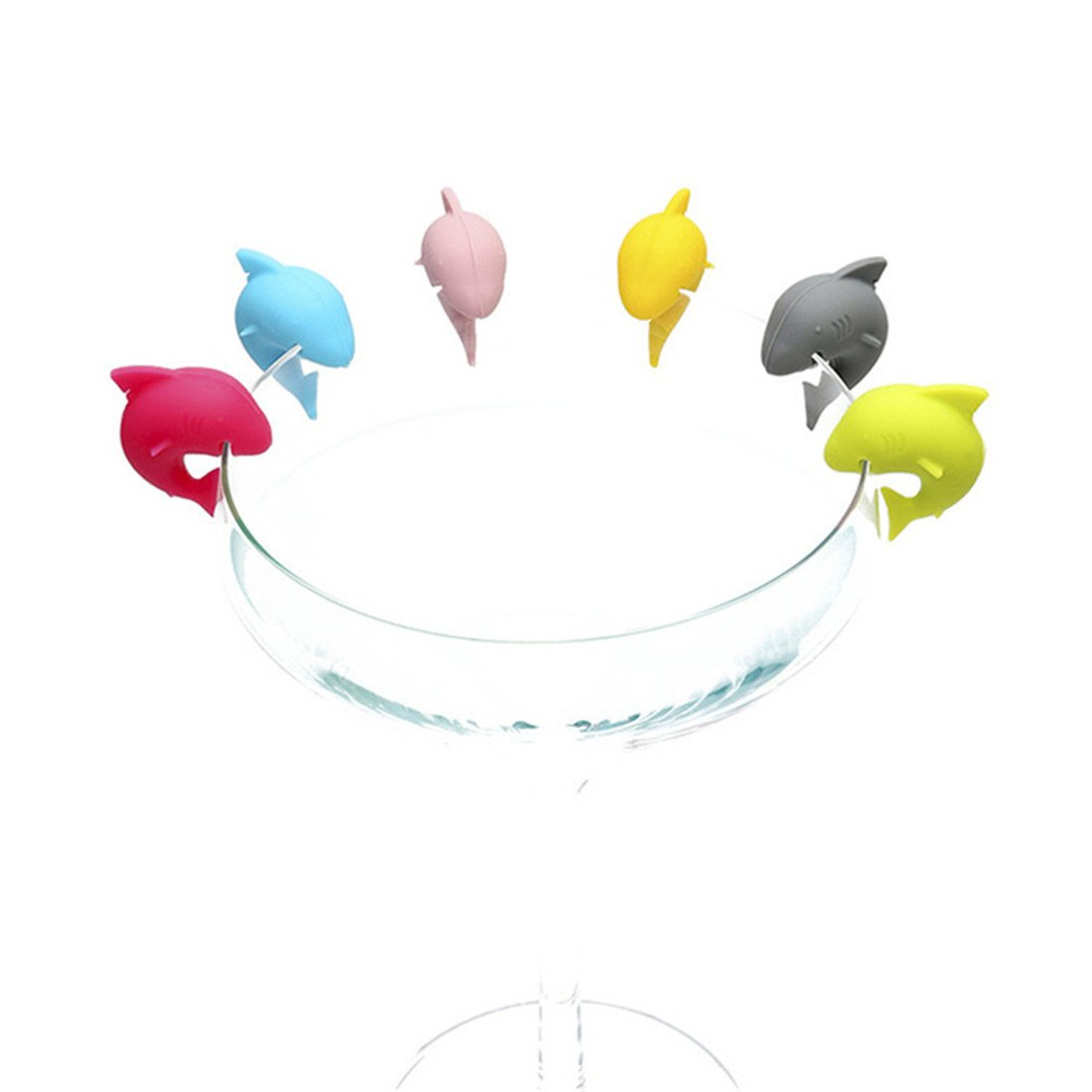 Edtoy Shark Wine Glass Markers Charms - Wine Accessories, Set of 6