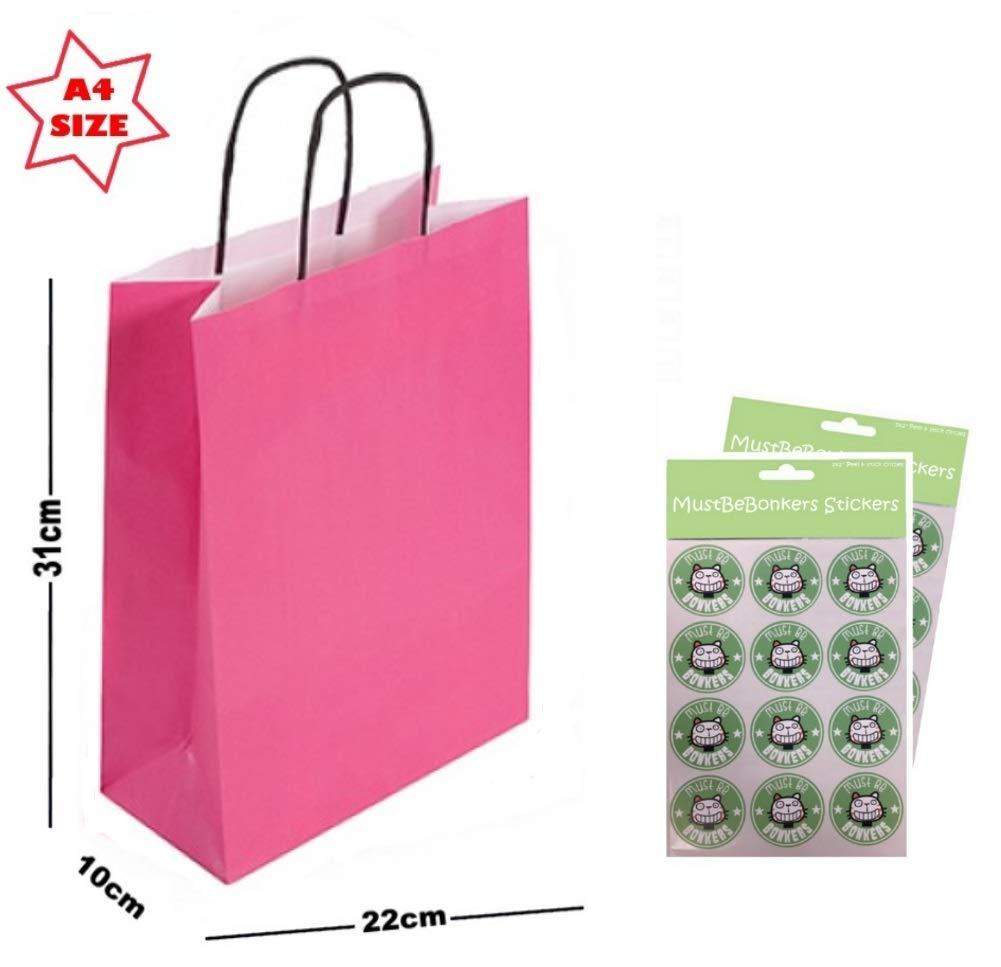 20 x Paper Party Gift Bags SIZE A4 ~ Boutique Shop Loot Carrier Bag ~Pick Colour