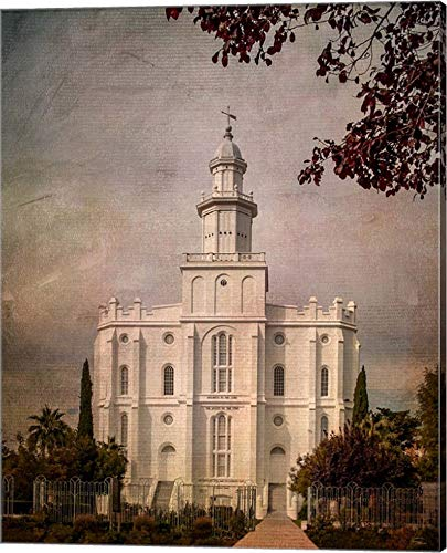 LDS St. George Temple by Ramona Murdock Canvas Art Wall Picture, Gallery Wrap, 16 x 20 inches