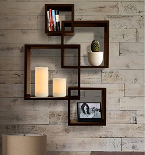 Amazon.com: Shelving Solution Intersecting Decorative Espresso Color Wall  Shelf Set of 4, 2 Candles Included: Home u0026 Kitchen
