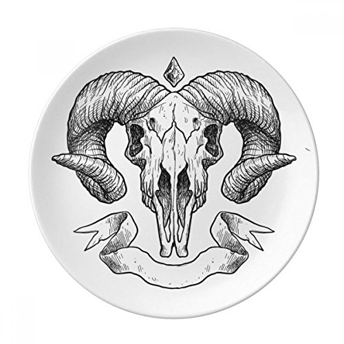 Goat Skull Animal Sketch Illustrations Dessert Plate Decorative Porcelain 8 inch Dinner Home