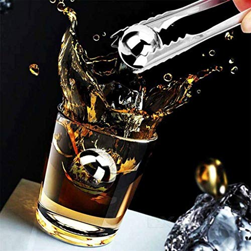 weiadinga Diamond PP Packaging Ice Wine Stone Stainless Steel Ice Cubes Reusable Metal Chilling Stones with Whisky Keep Cold (C)