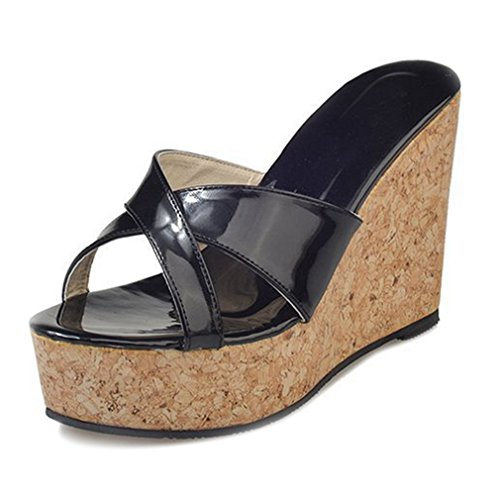 Criss Cross Wedge Sandal - Women's Cork Platform Sandals Criss Cross Wedges Slide Sandal Thick Bottom Slip On Shoes