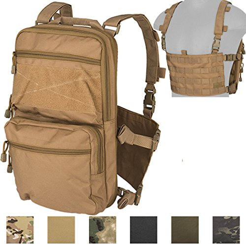 Lancer Tactical Modern Slim to 2-Day Trek Back Pack with Padded Back Mesh Weave Vent and Chest Rig Four Line MOLLE Panel Exterior Pockets Hydration Bladder 1000 Denier Double Stitched (Khaki)