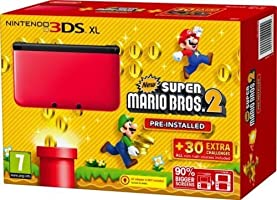 Nintendo 3ds XL Red/black and Super Mario Brothers 2 Game