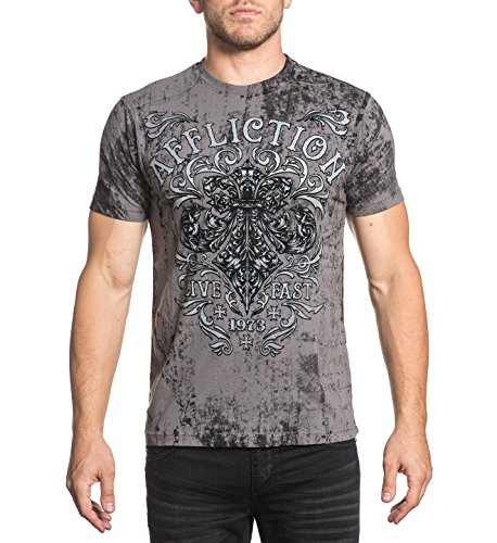 Affliction Men's Truth and Consequences Graphite Tee (XLarge)
