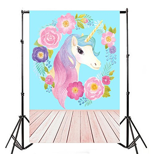 Leyiyi Vinyl 4x6ft Photography Backgroud Unicorns Blue Backgdrop Rose Cute Girls Birthday Baby Shower Bridal Party Banquet Wallpaper Home Interior Decoration Photo Portrait Studio Video Shooting Prop - 12' Diamond Head