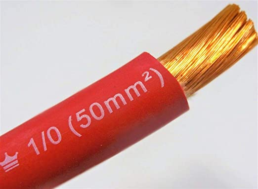 25/' EXCELENE 1//0 AWG WELDING//BATTERY CABLE RED 600V MADE IN USA COPPER
