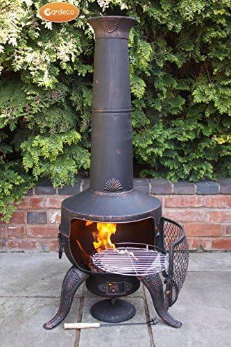 Acero al aire libre jardín grande Tia barbacoa barbacoa chimenea Fire Pit calentador bronce: Amazon.es: Hogar
