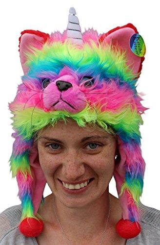 Rainbow CAT HAT Kitchi Kitten Fun Fur Rainbow Plush Animal Hat - (Adult 23.6 inches)