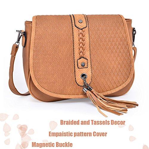 PU Bag and Leather Braided Women��s Sanddle Travel Shoulder Embossing Cover Vintage Bags Realgar Tassels Crossbody Big Bag qdtdgn