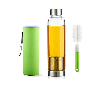 550ml Botella de té de vidrio portátil y con estilo con cesta de filtro de acero