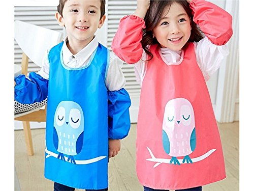 Gelaiken Perfect Cartoon Kid Waterproof Oil-Proof Animal Owl Printed Apron Girl Boy Two Arm Sleeves(Rose Red,Size:L)