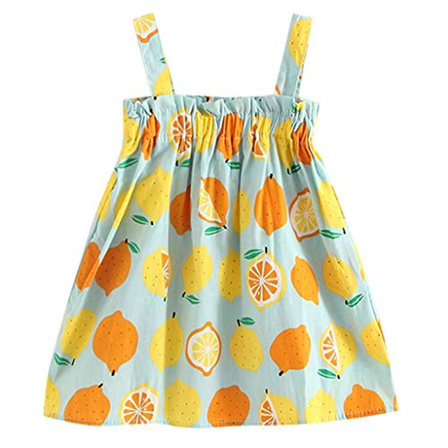 KLFGJ Infant Baby Girls Dress, Summer Clothes Strap Lemon Print Princess Dresses Outfits for Kids who 12M-5Yrs(Blue,12-18M)