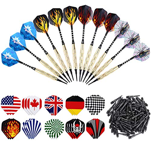 ANSOWNY Soft Tip Darts for Electronic Dartboard, 18 Grams Darts Plastic Tip Sets with Aluminum Shafts, Brass Steel Barrels, 12 Pack + Extra 100 Pcs Dart Tips & 30 Dart Flights (Best Plastic Tip Darts)