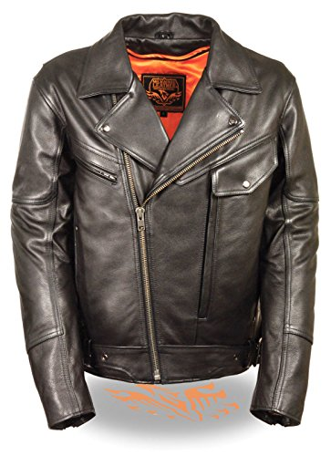 MEN'S MOTORCYCLE POLICE STYLE BUTTER SOFT LEATHER JACKET DOUBLE PISTOL PETE NEW (4XL (Pistol Pete Motorcycle)