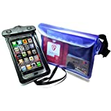 Waterproof Cell Phone Case, 2 Units Waterproof Bag Waterproof Dirt Proof Case, Adjustable and Extra Long Belt; Perfect for Beach Swimming Boating Fishing, Black + Blue