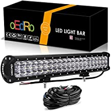 oEdRo 20 Inch Tri-Row LED Light Bar, 11200LM Spot Flood Combo LED Work Light Fog Light, Off Road Driving Lights with Wiring Harness for Jeep ATV Boat SUV 4X4 4WD Truck 189W, 3 Years Warranty