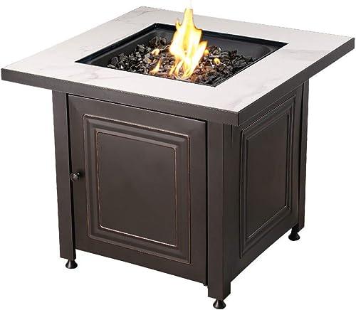 Endless Summer 31.4-in W 50000-BTU Black Grey Tabletop Steel Propane Gas Fire Table