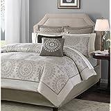 Madison Park Tiburon 12 Piece Jacquard Comforter Set, Queen, Tan