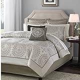 Madison Park Tiburon King Size Bed Comforter Set Bed in A Bag - Taupe, Jacquard – 12 Pieces Bedding Sets – Ultra Soft Microfiber Bedroom Comforters