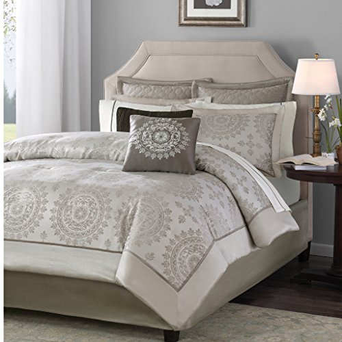 Madison Park Tiburon 12 Piece Jacquard Comforter Set, King, Tan