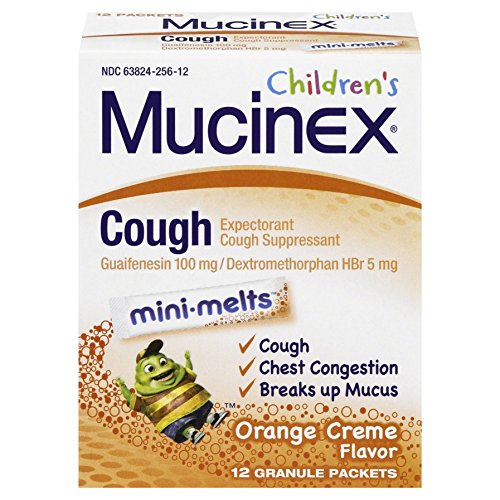 Mucinex Children's Chest Congestion Expectorant and Cough Suppressant Mini-Melts, Orange Crème (12 ct) by Mucinex