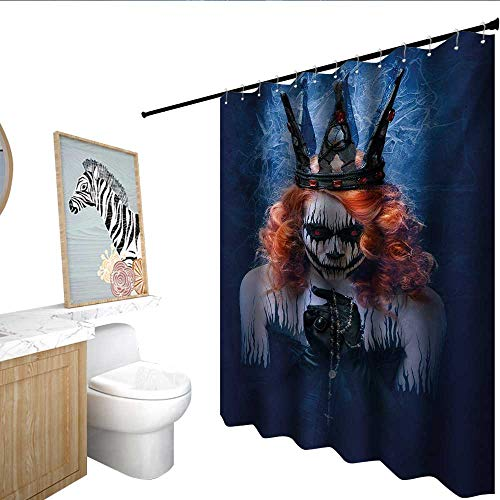 (homecoco Queen Flower Shower Curtain Queen of Death Scary Body Art Halloween Evil Face Bizarre Make Up Zombie Modern Shower Curtain Navy Blue Orange)