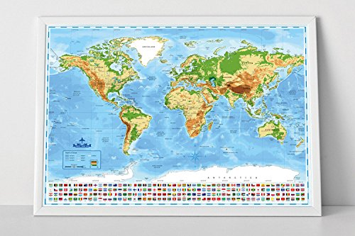 Travel Snob Scratch Off Map Of The World With States, Detailed 32.9 x 23.82 Inch Colorful Wall Travel Poster, US States Outlined + Country Flags Included, Perfect Cartography To Mark Where You've Been ()