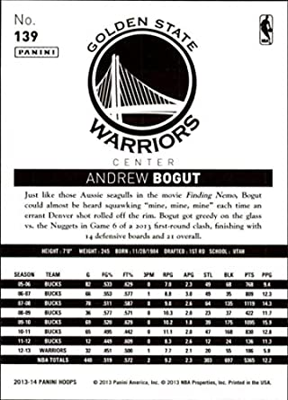 21ad2e3fd72 Amazon.com  2013-14 NBA Hoops  139 Andrew Bogut Golden State Warriors  Official Basketball Card made by Panini  Collectibles   Fine Art