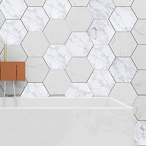 EZSpace 3D Wall Decorations Removable Marble Hexagon Tile Fashion DIY Wall Mural, Anti-Skid Floor Sticker(10Pcs White Onxy)