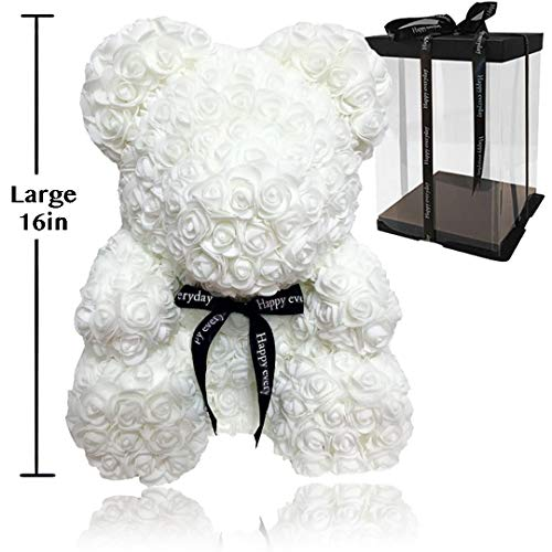 (Rose Flower Bear - Fully Assembled 16 inch Hugz Teddy Bear - Over 20 Dozen Artificial Flowers - Best Gift for Valentines Day, Anniversary, Birthdays & Bridal Showers (White) - w/Clear Gift Box)