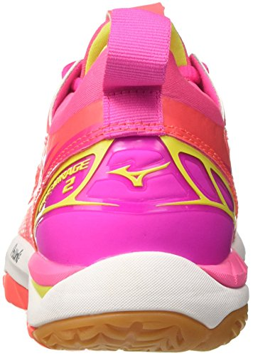 2 Wave Fierycoral Women's Safetyyellow Mizuno Pink Handball Pinkglo 46 Mirage WOS Shoes w1tnSq5p