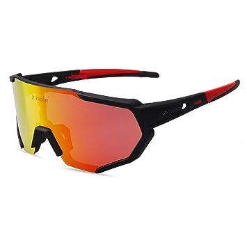 d6ad617d87 X-TIGER Gafas Ciclismo polarizadas con 3 Lentes Intercambiables UV 400 Gafas  Deportivas, Corriendo
