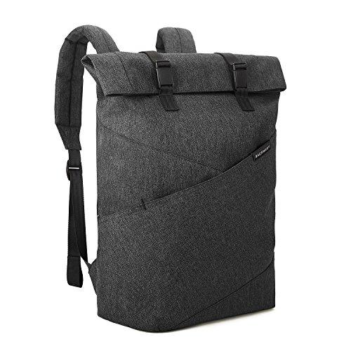 BAGSMART Rolltop Backpack Travel Laptop Backpack College School Computer Bag for Women & Men Fits 15.6 Inch Laptop and Notebook, Black
