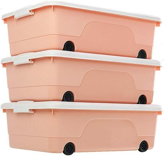 HESNHHAN Cajas de Almacenamiento de plástico Grande con Tapas Ruedas Contenedor apilable Fuerte Toy Box 3PCS,Rosa,60 * 42 * 19cm: Amazon.es: Hogar