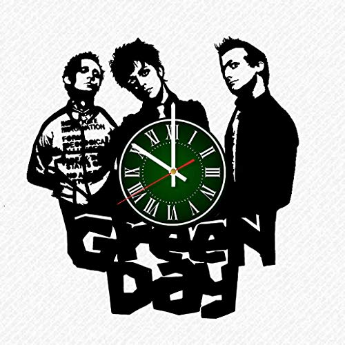 Green Day Band Music Vinyl Record 12 Inch Wall Clock Room Wall Decor Music Art Gift Modern Home Vintage Decoration Gift Birthday Halloween Christmas Gifts -