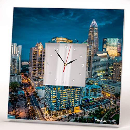 Charlotte Skyline North Carolina Downtown View Wall Clock Framed Mirror Decor Art Home Design Gift (Wall Charlotte Nc Mirrors)