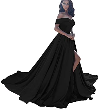 Jazylynbride Women s Off The Shoulder A Line Satin Prom Dress Long Formal  Evening Gown with Slit 9e16c3bf7